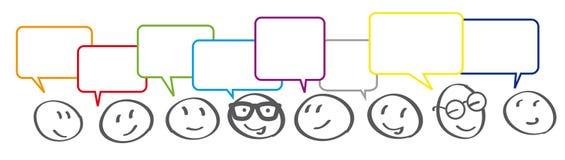 Σύνδεση επιχειρησιακών επικοινωνιών με τις λεκτικές φυσαλίδες απεικόνιση αποθεμάτων