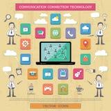 Σύνδεση στο Διαδίκτυο και επικοινωνία. Στοκ Εικόνες