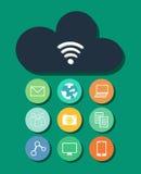 Σύνδεση της WI-Fi σύννεφων και κοινωνικό δίκτυο Στοκ εικόνα με δικαίωμα ελεύθερης χρήσης