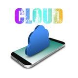 Σύνδεση υπολογισμού σύννεφων με το smartphone, τηλεφωνικό illustrati κυττάρων Στοκ φωτογραφία με δικαίωμα ελεύθερης χρήσης