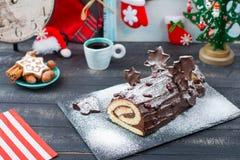 Σύνδεση Χριστουγέννων κέικ νέο Year& x27 πίνακας του s Στοκ Φωτογραφίες