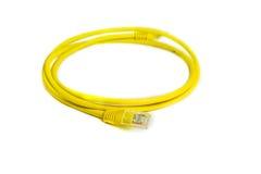 Σύνδεση Ethernet rj-45 δικτύων του τοπικού LAN κίτρινο χρώμα καλωδίων Στοκ φωτογραφία με δικαίωμα ελεύθερης χρήσης