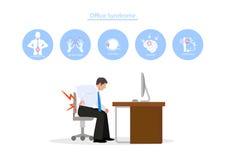 Σύνδρομο γραφείων με το υγιές εικονίδιο στο άσπρο υπόβαθρο ελεύθερη απεικόνιση δικαιώματος