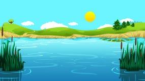 Σύρετε το όμορφο τοπίο λιμνών Απεικόνιση αποθεμάτων