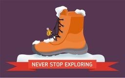 Σύριγγα έννοιας design Μην σταματήστε ποτέ Ένας τουρίστας αναρριχείται στο παπούτσι με ένα σχοινί Στοκ φωτογραφία με δικαίωμα ελεύθερης χρήσης