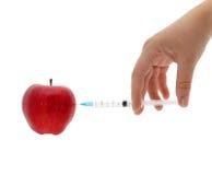 σύριγγα εγχύσεων μήλων Στοκ Εικόνες