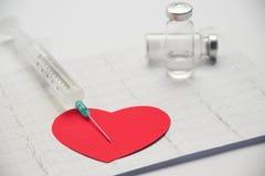 Σύριγγα, καρδιογράφημα, μπουκάλια της ιατρικής, το εικονίδιο καρδιών στο lig Στοκ Εικόνες