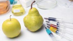 Σύριγγες χρώματος με τα χημικά λιπάσματα των διαφορετικών χρωμάτων στο αχλάδι και το μήλο Φρούτα ΓΤΟ και φυτοφαρμάκων στοκ φωτογραφία