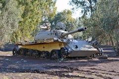 Σύριος τ-55 σοβιετικός-που γίνεται μετά από την πάλη με το Ισραήλ Go Στοκ Εικόνες