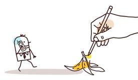 Σύροντας το μεγάλο χέρι - περπατώντας άτομο κινούμενων σχεδίων και φλούδα μπανανών Στοκ Εικόνες