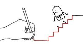 Σύροντας το μεγάλο επιχειρηματία χεριών και κινούμενων σχεδίων - που πηγαίνει κάτω διανυσματική απεικόνιση