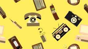 Σύσταση, άνευ ραφής σχέδιο της παλαιάς αναδρομικής ηλεκτρονικής hipster, κινητά τηλέφωνα, όργανο καταγραφής TV, παίκτης, κασέτα ή απεικόνιση αποθεμάτων