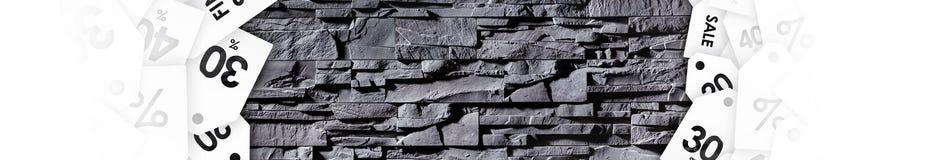 Σύσταση γκρίζου πέτρινου με τις ετικέτες έκπτωσης Στοκ Εικόνες