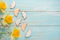 Σύσταση ενός δέντρου με τα κίτρινα λουλούδια και τα σπιτικά μπισκότα υπό μορφή μήνα Τοπ άποψη, με το κενό διάστημα για την επιγρα στοκ φωτογραφία