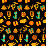 Σύσταση κεραμιδιών με τα χειροποίητα προϊόντα μαλλιού πέρα από το σκοτάδι Στοκ εικόνες με δικαίωμα ελεύθερης χρήσης