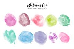Σύσταση κύκλων Watercolor Αφηρημένες συστάσεις χρωμάτων χεριών στο λευκό Σύνολο 10 στοιχείων κύκλων watercolor Στοκ Εικόνες