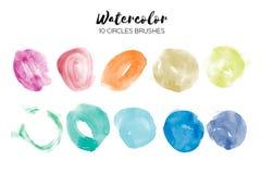 Σύσταση κύκλων Watercolor Αφηρημένες συστάσεις χρωμάτων χεριών στο λευκό Σύνολο 10 στοιχείων κύκλων watercolor Στοκ φωτογραφία με δικαίωμα ελεύθερης χρήσης