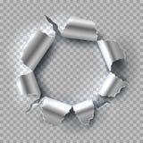 σύσταση μετάλλων τρυπών ανασκόπησης Χάλυβας με τις σχισμένες, σχισμένες άκρες που απομονώνονται στο διαφανές υπόβαθρο διάνυσμα κά απεικόνιση αποθεμάτων