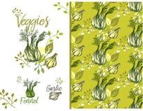 Σύσταση με τα λαχανικά, μάραθο, σκόρδο, φύλλα, κλάδοι απεικόνιση αποθεμάτων