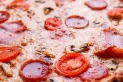 Σύσταση πιτσών, υπόβαθρο τροφίμων Κλείστε επάνω των φρέσκων ψημένων WI πιτσών Στοκ Εικόνες