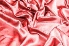 Σύσταση, σχέδιο κόκκινο, μεταλλικό νήμα υφάσματος μεταξιού μεταλλικός αυτή Στοκ Φωτογραφία