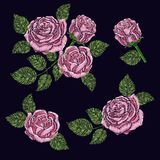 Σύσταση σχεδίων κεντητικής, ταπετσαρία, υπόβαθρο με τα ρόδινα όμορφα τριαντάφυλλα Διανυσματική floral διακόσμηση στο μαύρο υπόβαθ Στοκ εικόνες με δικαίωμα ελεύθερης χρήσης