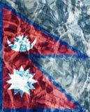 Σύσταση της συνενωμένης σε ομοσπονδία λαϊκής Δημοκρατίας της σημαίας του Νεπάλ στη λίμνη, νερό στοκ φωτογραφίες