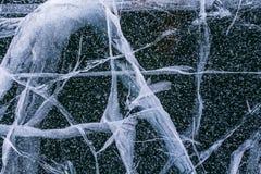 Σύσταση του μπλε πάγου νεράιδων της λίμνης Baikal με τις ρωγμές και τους παφλασμούς Στοκ Εικόνες