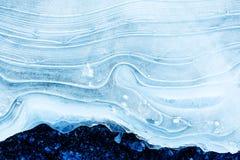 Σύσταση του πάγου στην παγωμένη λίμνη Μπλε ανασκόπηση χρώματος Στοκ Εικόνα