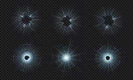 Ραγισμένο γυαλί Σύσταση του σπασμένου παραθύρου, καταπληκτική επίδραση οθόνης, τρύπες από σφαίρα στο συντριμμένο διαφανές γυαλί r διανυσματική απεικόνιση