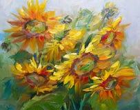 Σύσταση των ελαιογραφιών, λουλούδια, τεμάχιο ζωγραφικής χρωματισμένος Στοκ εικόνα με δικαίωμα ελεύθερης χρήσης
