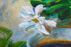 Σύσταση των ελαιογραφιών, λουλούδια, τεμάχιο ζωγραφικής χρωματισμένος Στοκ Εικόνες
