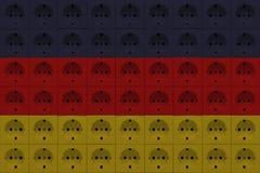 Σύσταση των ηλεκτρικών εξόδων κόκκινοι μπλε και άσπρος στοκ φωτογραφίες