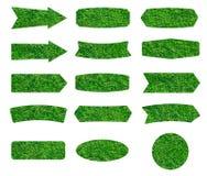 Σύσταση των πράσινων ετικετών χλόης που απομονώνεται στο άσπρο υπόβαθρο Στοκ φωτογραφία με δικαίωμα ελεύθερης χρήσης
