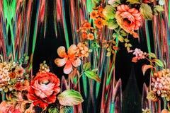 Σύσταση των ριγωτών λουλουδιών υφάσματος τυπωμένων υλών Στοκ φωτογραφία με δικαίωμα ελεύθερης χρήσης