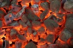 Σύσταση υποβάθρου ανθρακόπλινθων ξυλάνθρακα πυράκτωσης Στοκ Φωτογραφίες