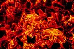 Σύσταση υποβάθρου κινηματογραφήσεων σε πρώτο πλάνο ανθρακόπλινθων ξυλάνθρακα πυράκτωσης καυτή στοκ εικόνα με δικαίωμα ελεύθερης χρήσης