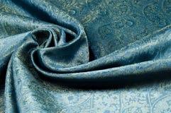 Σύσταση υποβάθρου, σχέδιο Μπλε fabri νεαρών δικυκλιστών σιφόν μεταξιού του Paisley Στοκ εικόνα με δικαίωμα ελεύθερης χρήσης