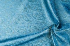 Σύσταση υποβάθρου, σχέδιο Μπλε fabri νεαρών δικυκλιστών σιφόν μεταξιού του Paisley Στοκ Εικόνες