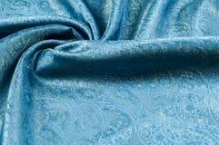 Σύσταση υποβάθρου, σχέδιο Μπλε fabri νεαρών δικυκλιστών σιφόν μεταξιού του Paisley Στοκ Φωτογραφία