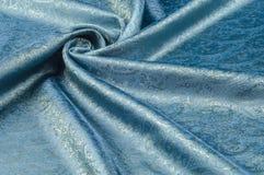 Σύσταση υποβάθρου, σχέδιο Μπλε fabri νεαρών δικυκλιστών σιφόν μεταξιού του Paisley Στοκ φωτογραφία με δικαίωμα ελεύθερης χρήσης