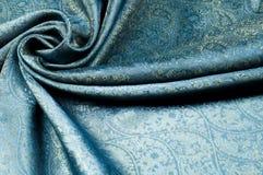 Σύσταση υποβάθρου, σχέδιο Μπλε fabri νεαρών δικυκλιστών σιφόν μεταξιού του Paisley Στοκ Εικόνα