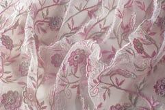 Σύσταση, υπόβαθρο, σχέδιο Δαντέλλα που διακοσμείται ρόδινη με τα λουλούδια ο στοκ εικόνες με δικαίωμα ελεύθερης χρήσης