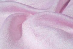 Σύσταση, υπόβαθρο, σχέδιο Ροζ μεταξιού υφασμάτων Αγγλικό ρόδινο fabr Στοκ Εικόνες