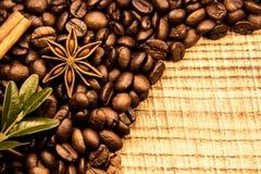 Σύσταση φασολιών Coffe με την κανέλα και τα anis, τον ξηρό ουρακοτάγκο και το ξύλινο copyspace Στοκ Εικόνες
