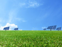 Σύστημα ενεργειακού πλέγματος δύναμης ηλιακών κυττάρων στο υπόβαθρο έννοιας ιδέας Στοκ φωτογραφία με δικαίωμα ελεύθερης χρήσης