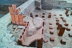 Σύστημα θέρμανσης τούβλων κοιλοτήτων στο ρωμαϊκό λουτρό Στοκ Φωτογραφίες