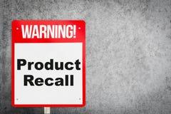 Σύστημα σηματοδότησης προειδοποίησης προβλήματος ανάκλησης προϊόντων για τη βιομηχανία στοκ εικόνα