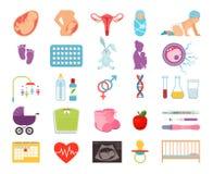 Σύλληψη του παιδιού και της εγκυμοσύνης, προγενέθλια τεκνοποιητική γέννηση, επίπεδα διανυσματικά εικονίδια μητρότητας ελεύθερη απεικόνιση δικαιώματος