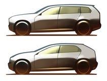 Σώμα αυτοκινήτων SUV και διασταύρωση Απεικόνιση αποθεμάτων